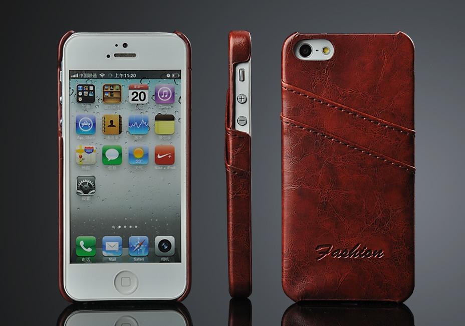 Husa slim piele cu textura vintage, tip back cover, iPhone SE / 5 / 5S, Maro coniac