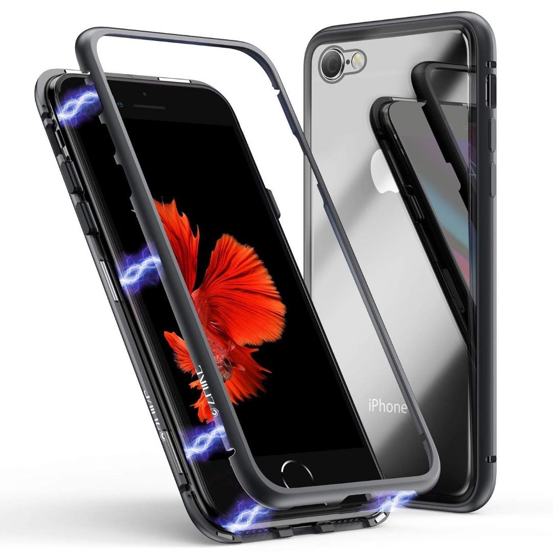 Husa tip bumper magnetic + folie sticla securizata spate, iPhone SE 2 (2020), iPhone 8, iPhone 7 - CaseMe, Negru