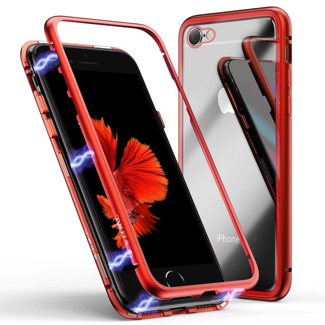 Husa tip bumper magnetic + folie sticla securizata spate, iPhone SE 2 (2020), iPhone 8, iPhone 7 - CaseMe, Rosu