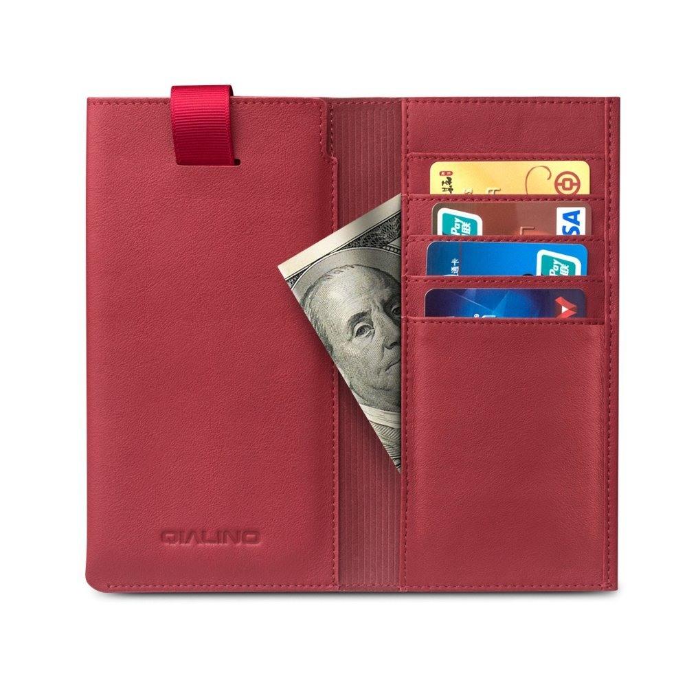 Husa tip saculet + portofel din piele naturala moale, iPhone 12 Mini, SE 2 (2020), iPhone 8, iPhone 7, iPhone 6 / 6s - Qialino, Rosu burgund