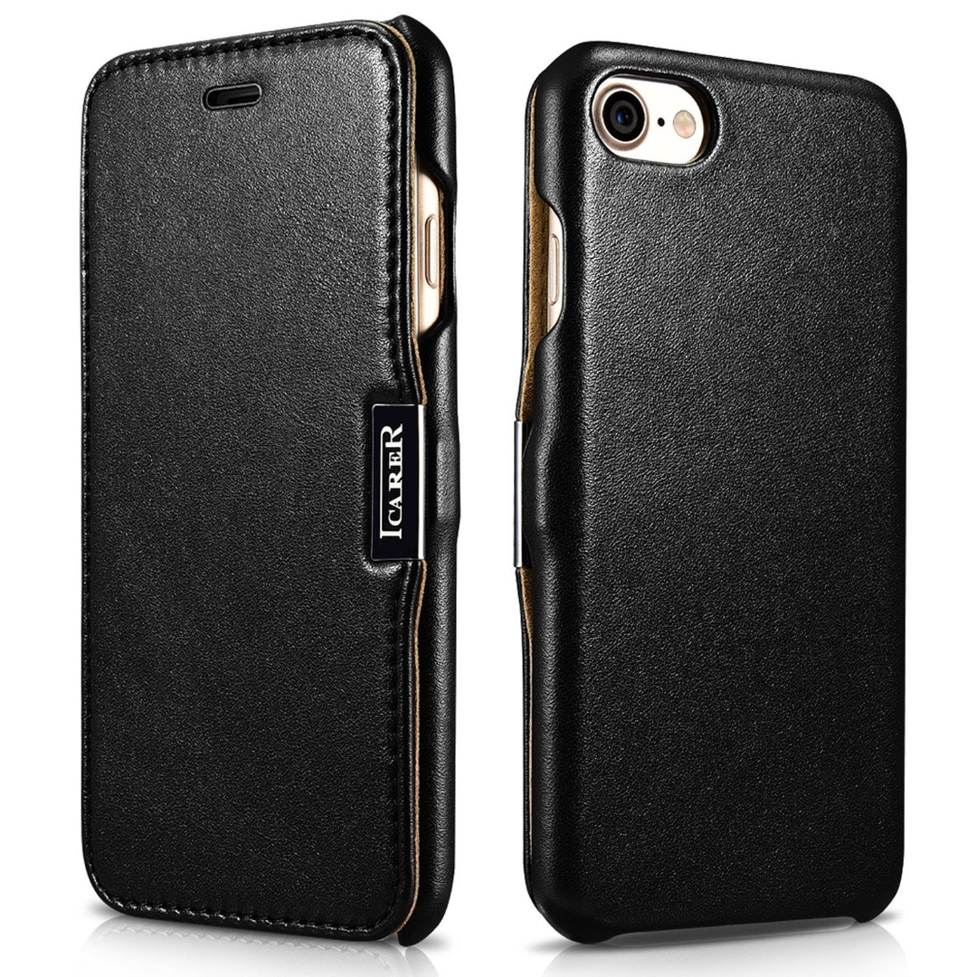 Husa din piele naturala, tip carte cu inchidere magnetica, iPhone SE 2 (2020) / iPhone 8 / iPhone 7 - iCARER Luxury Series, Negru