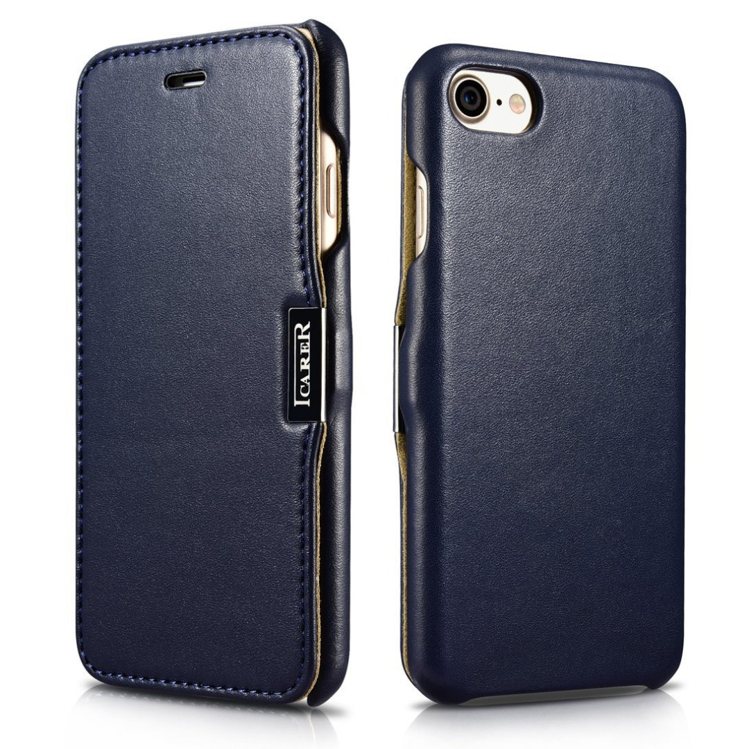 Husa din piele naturala, tip carte cu inchidere magnetica, iPhone SE 2 (2020) / iPhone 8 / iPhone 7 / iPhone 6 / 6s - iCARER Luxury Series, Albastru