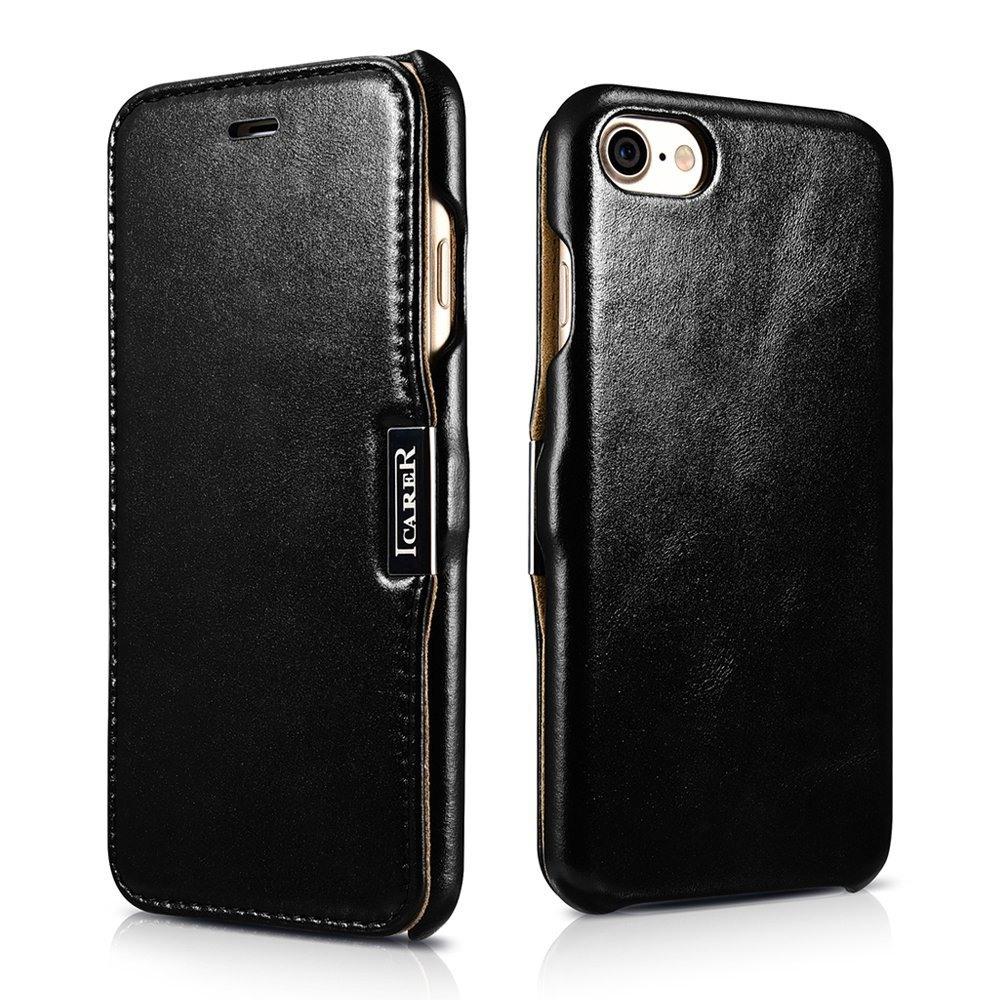 Husa din piele, tip carte, inchidere magnetica, iPhone SE 2 (2020) / iPhone 8 / iPhone 7 / iPhone 6 / 6s - iCARER Vintage Side Open, Negru