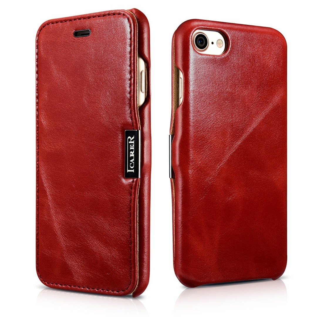 Husa din piele, tip carte, inchidere magnetica, iPhone SE 2 (2020) / iPhone 8 / iPhone 7 - iCARER Vintage Side Open, Rosu burgund