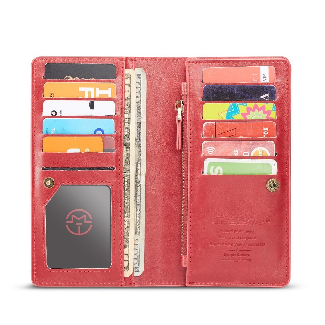 Portofel universal, inchidere sigura, slot carduri, bancnote, monede, telefon - CaseMe, Rosu