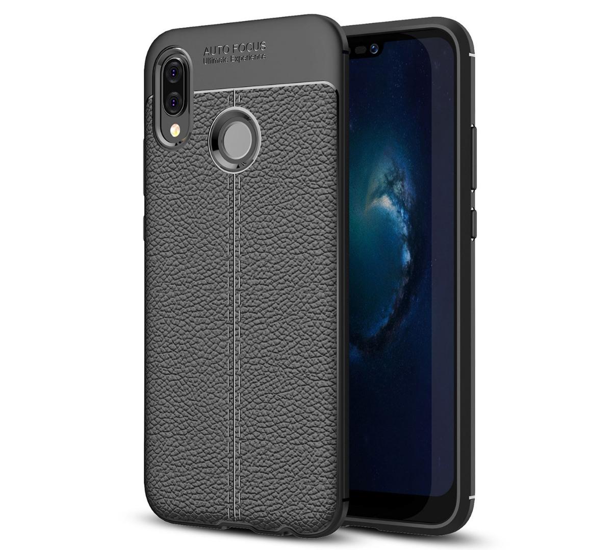 Husa silicon + TPU cu model piele, back cover, Huawei P20 Lite - CaseME, Negru