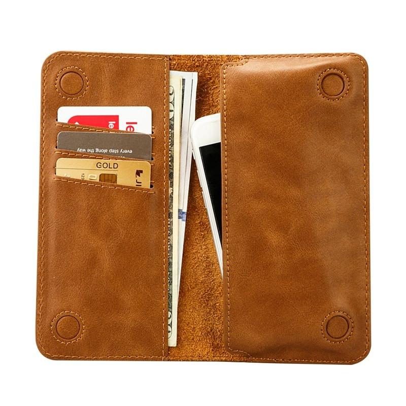 Portofel slim universal, inchidere magnetica, slot carduri, bancnote, telefon - Jison Case Two Sides, Maro tabac
