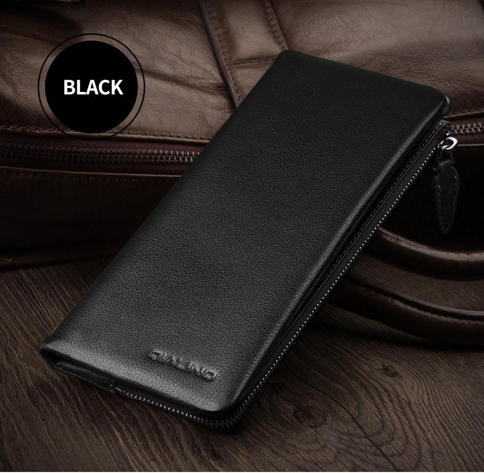 Portofel / Husa universala din piele naturala vintage pentru telefoane pana 175mm - Qialino Vintage Wallet, Negru