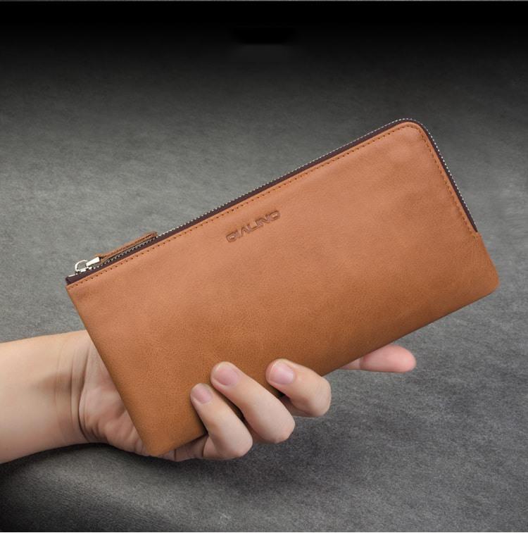 Portofel / Husa universala din piele naturala pentru telefoane pana 175mm - Qialino Zip Wallet, Maro tabac