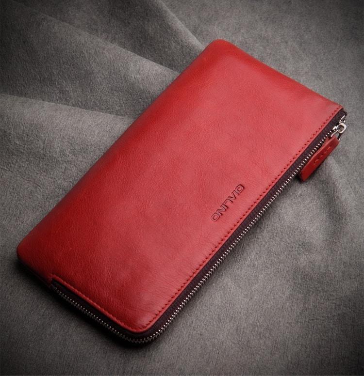 Portofel / Husa universala din piele naturala pentru telefoane pana 175mm - Qialino Zip Wallet, Rosu burgund