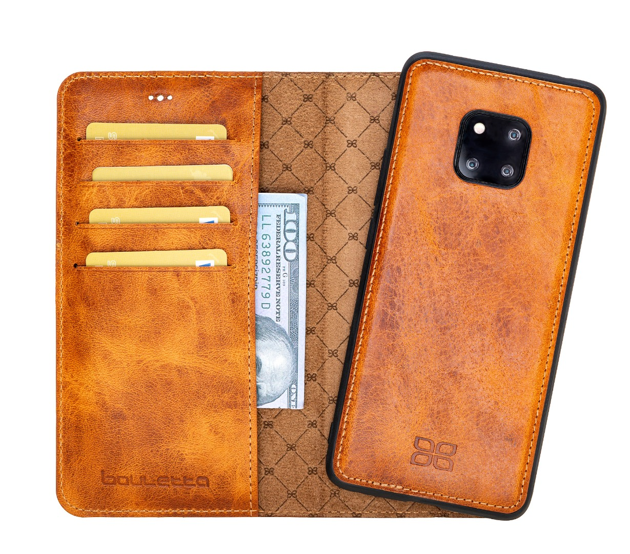 Husa piele naturala 2 in 1, tip portofel + back cover, Huawei Mate 20 Pro - Bouletta Magic Wallet, Tan