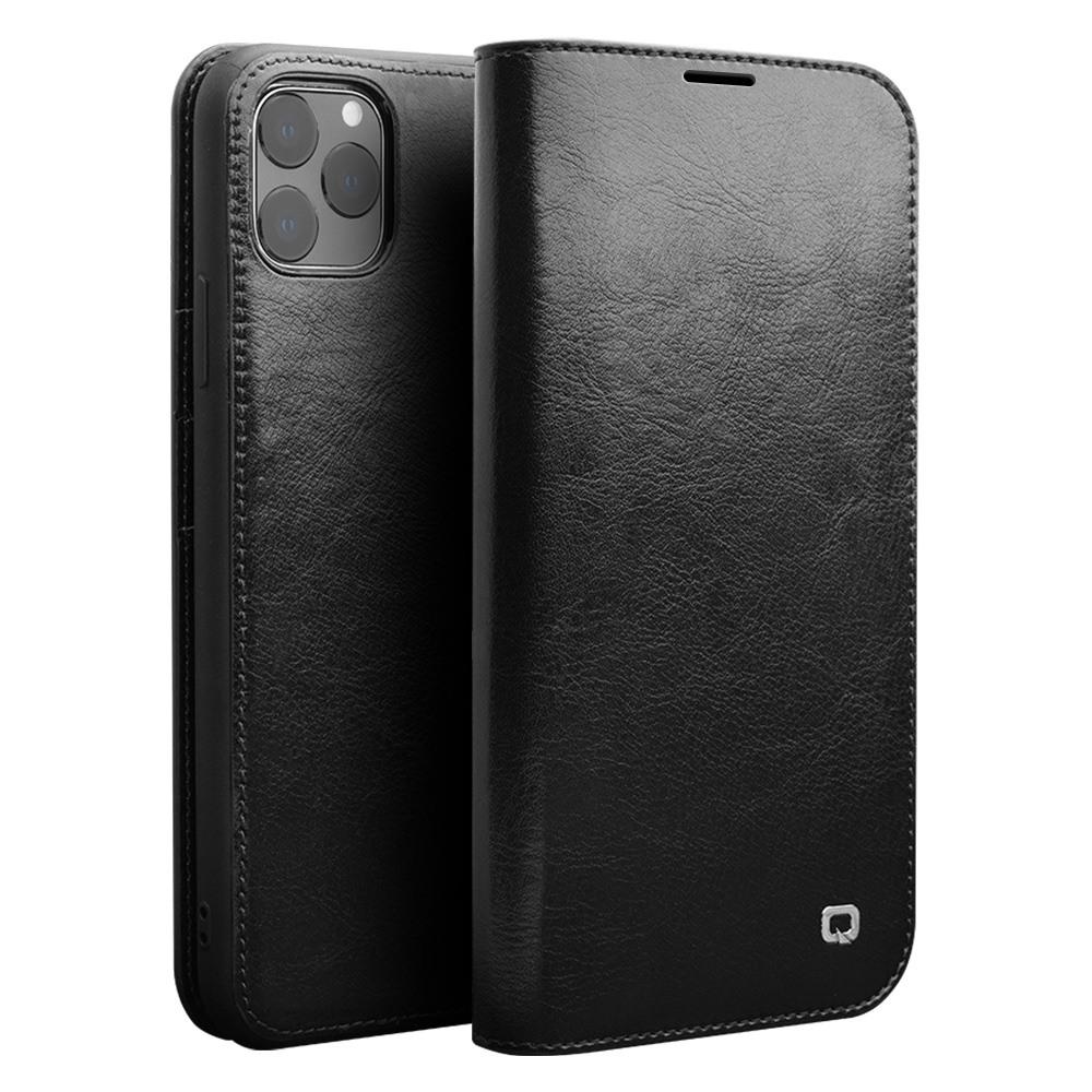 Husa din piele fina tip carte, cu buzunare carduri si bani, iPhone 11 Pro - Qialino Classic Wallet, Negru