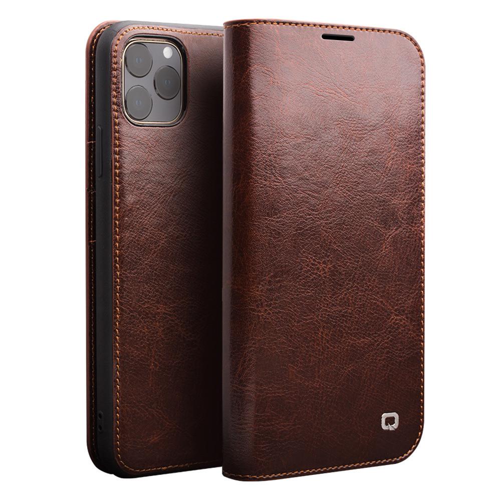 Husa din piele fina tip carte, cu buzunare carduri si bani, iPhone 11 Pro - Qialino Classic Wallet, Maro coffee