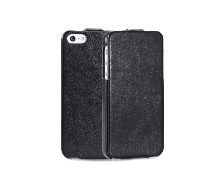 Husa piele fina, tip flip cover, iPhone SE (1st gen. 2016), iPhone 5 / 5S - CaseMe, negru
