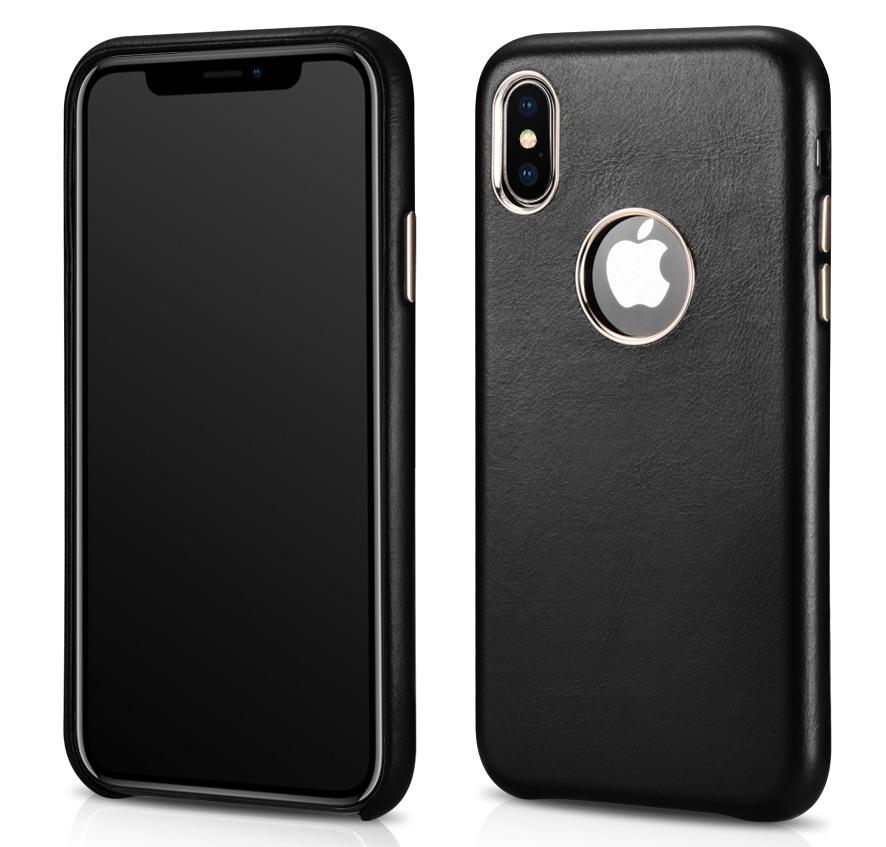Husa slim din piele naturala, tip back cover, iPhone XS - iCarer, Negru