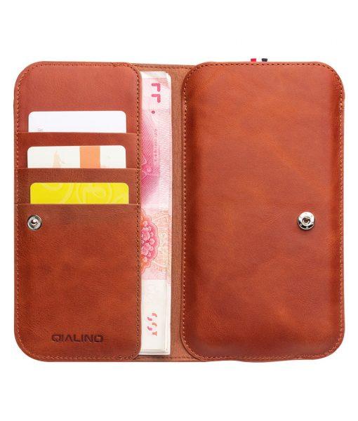Portofel piele naturala slim universal, inchidere cu capsa, slot carduri bancnote, telefon - Qialino, Maro tabac