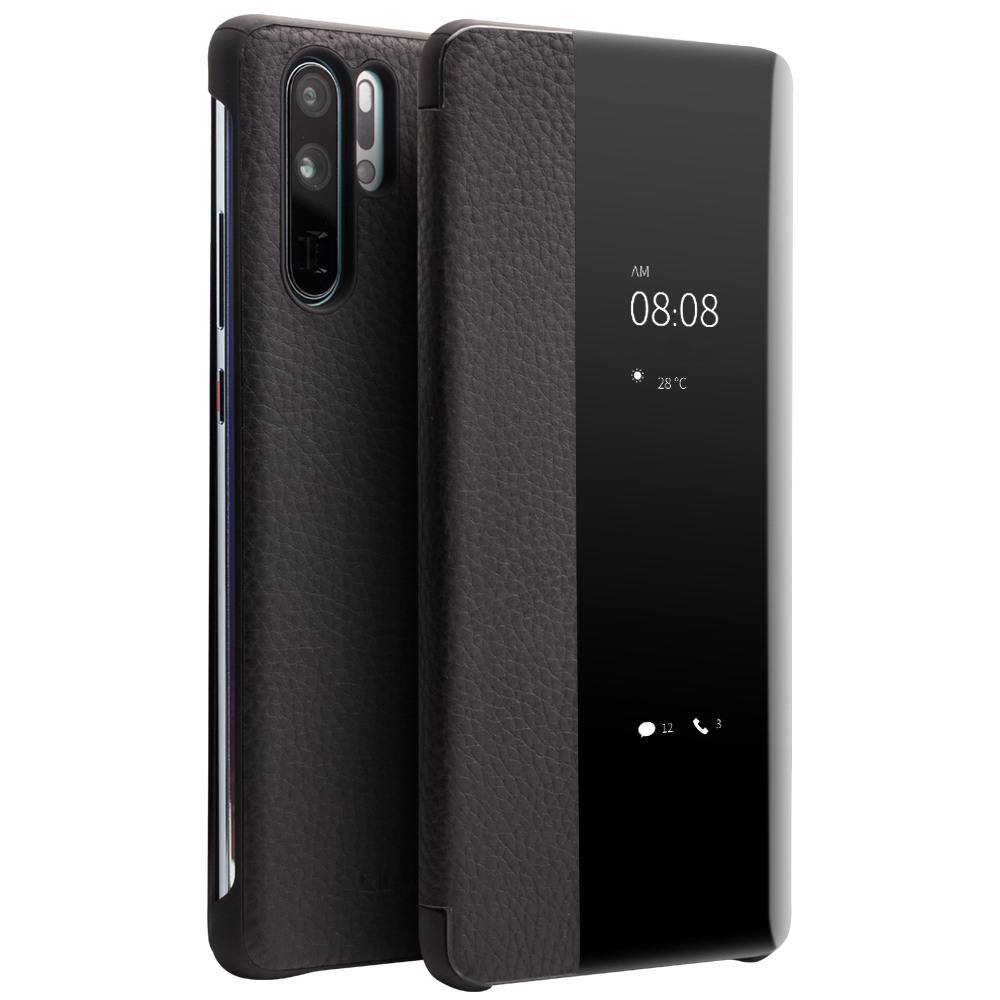 Husa slim din piele naturala, smart cover, Huawei P30 Pro - Qialino Smart Litchi, Negru