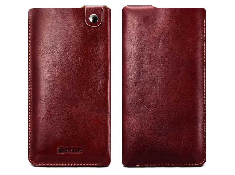 Husa / Saculet piele naturala + piele intoarsa, cu capsa, telefoane pana la 159mm - iCarer, Rosu burgund