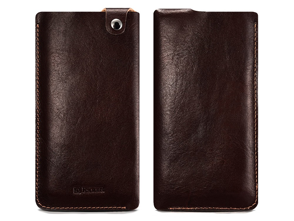 Husa / Saculet piele naturala + piele intoarsa, cu capsa, telefoane pana la 159mm - iCarer, Maro coffee