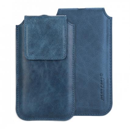 Husa din piele naturala tip saculet, inchidere magnetica, iPhone 11 Pro, iPhone X / XS - Jison case, Albastru
