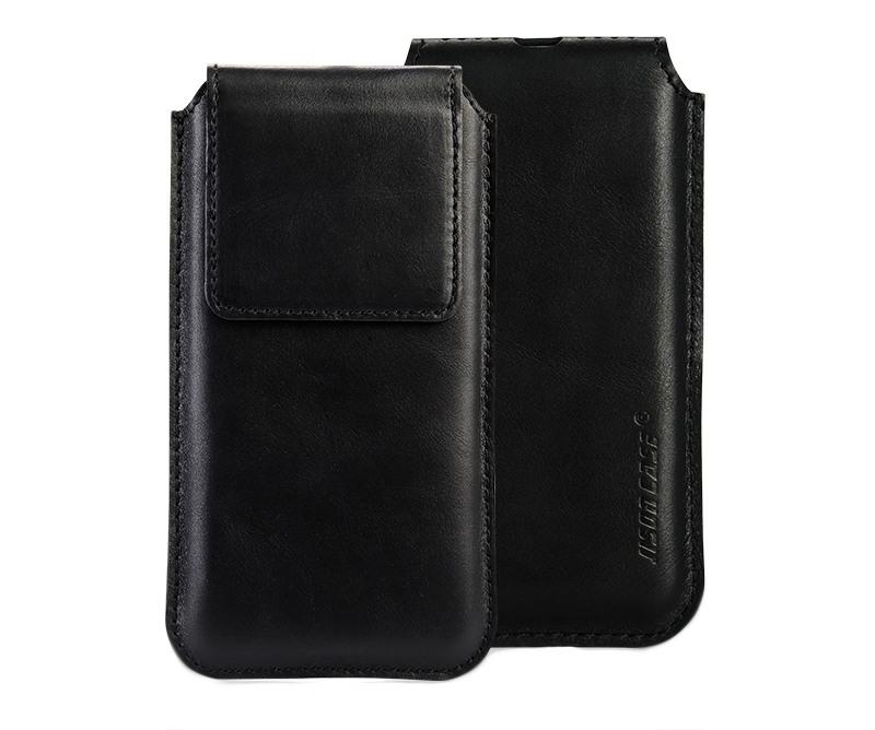 Husa din piele naturala tip saculet, inchidere magnetica, dedicat iPhone X / XS - Jison case, Negru