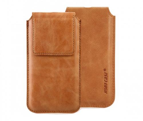 Husa din piele naturala tip saculet, inchidere magnetica, dedicat iPhone X / XS - Jison case, Maro tabac