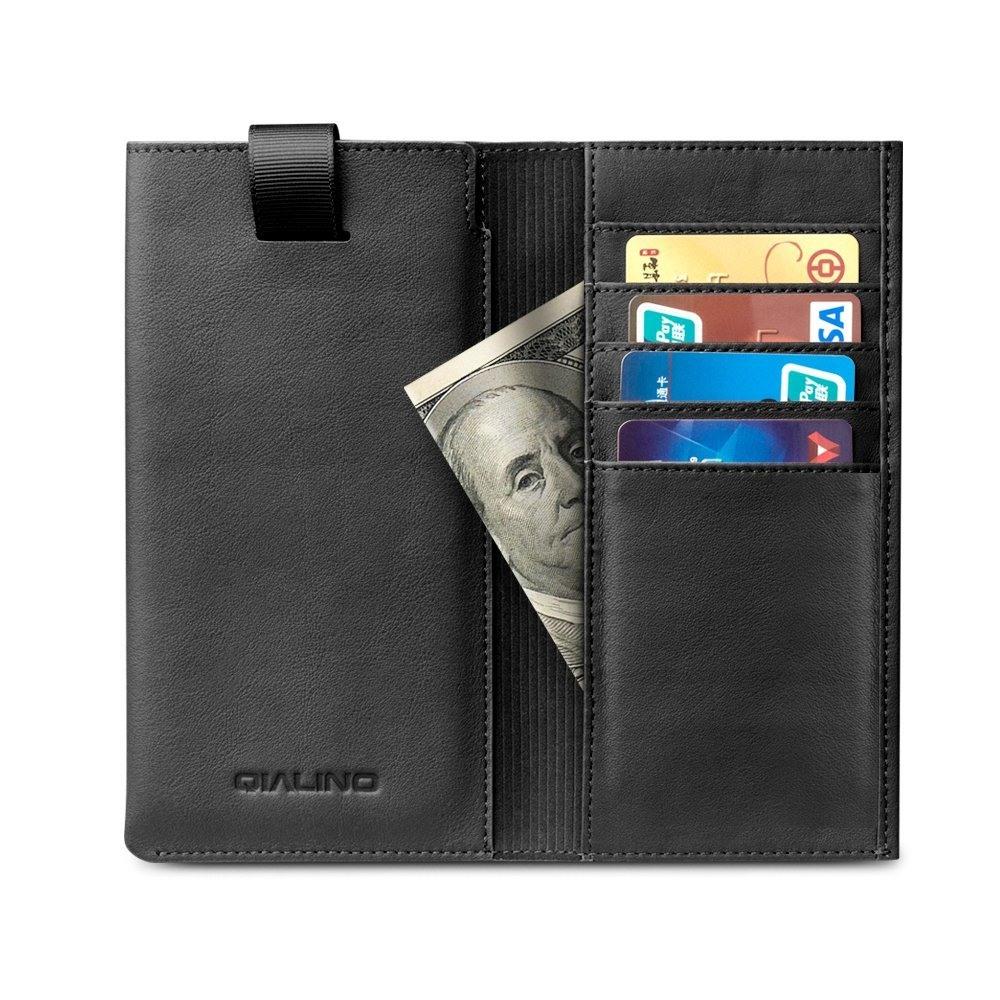 Husa tip saculet + portofel din piele naturala moale, iPhone 11 Pro, iPhone X / XS - Qialino, Negru