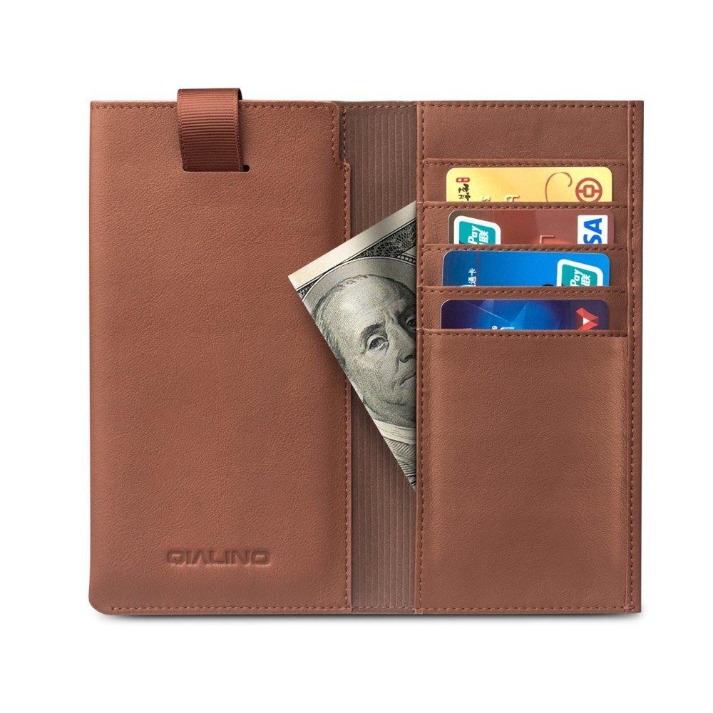 Husa tip saculet + portofel din piele naturala moale, iPhone X / XS - Qialino, Maro tabac