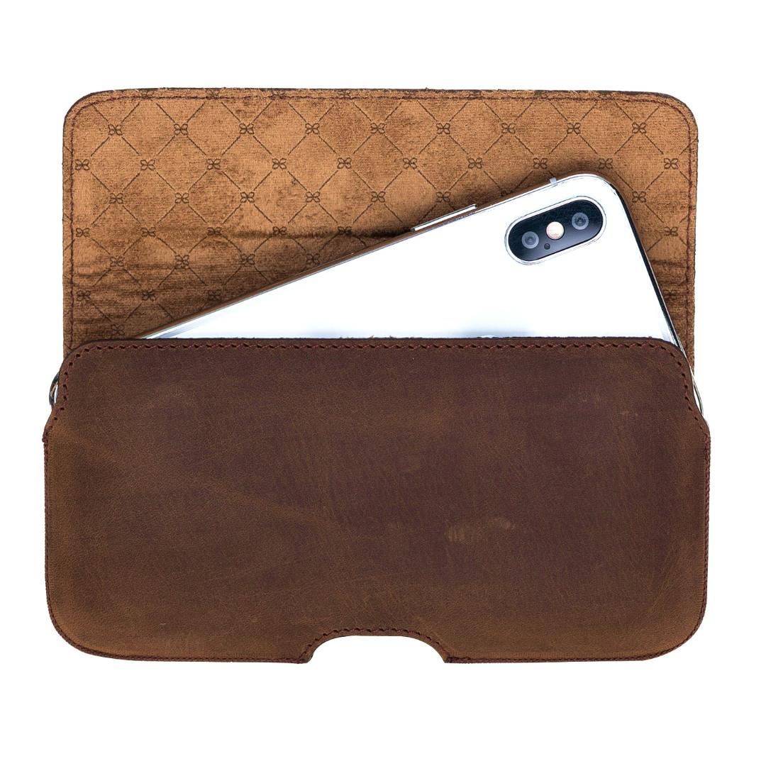 Toc din piele naturala pentru curea, iPhone 11 Pro, iPhone X / XS - Bouletta Aslant, Antique coffee