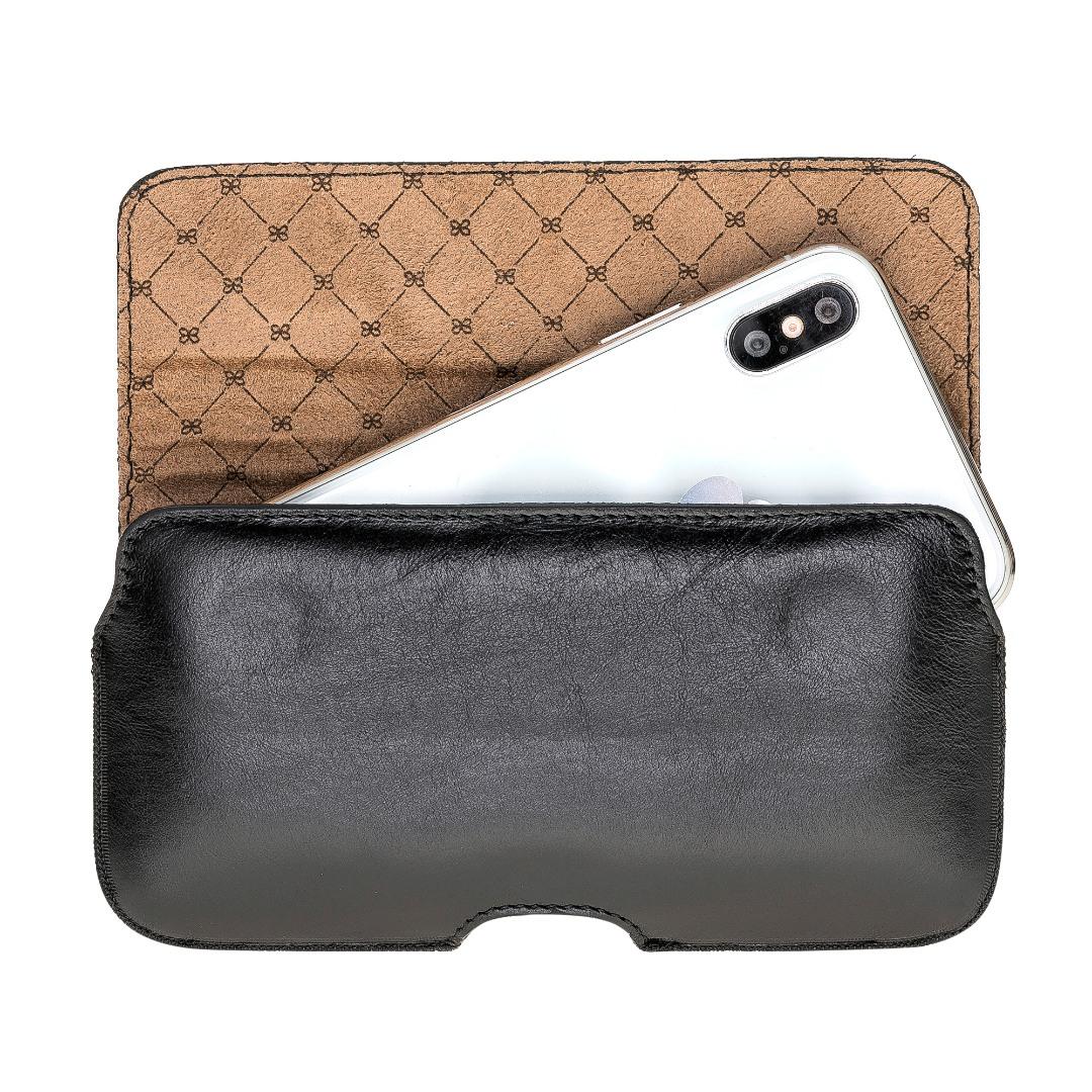 Toc din piele naturala pentru curea, dedicat iPhone X / XS - Bouletta Aslant, Rustic black